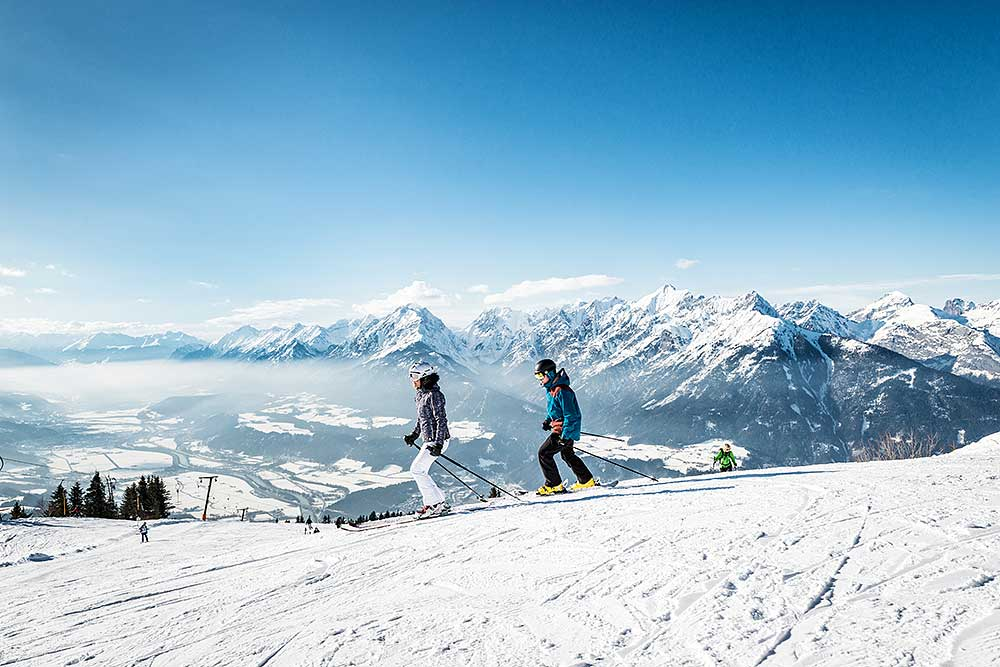Skiing in the Tyrolean mountains